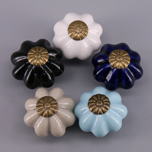 1x ceramic pumpkin knobs lovely children room Dresser handles porcelain jewellery box drawer cabinet small knobs 25x24mm