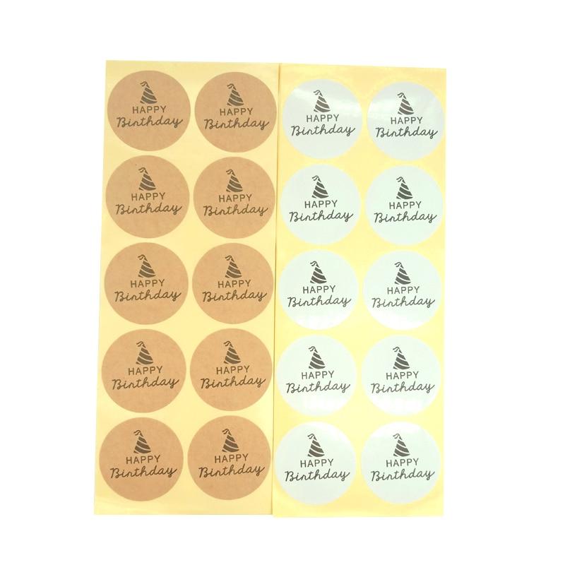 1000 pcs lote presente selagem embalagem etiqueta feliz aniversario redondo adesivos de vedacao dois design para