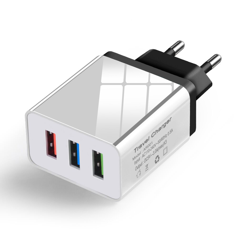 3 Ports USB Charger 5V 3.1A Fast Charging Wall Charger Adapter EU Plug Mobile Phone For Iphone For Samsung Xiaomi Huawei