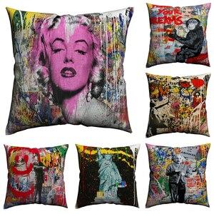 Banksy Street Art Decorative Pillows Case Pillowcase For Sofa Cotton Linen 45x45cm Nordic Pillow Covers Decorative Almofada(China)