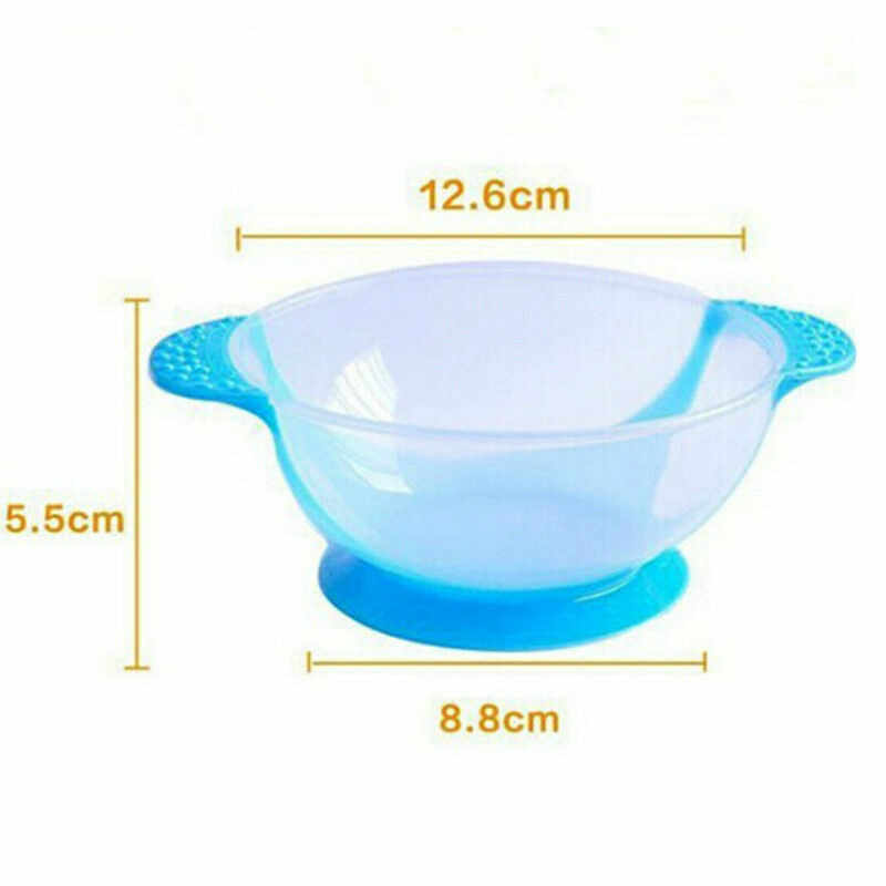 Kids Tableware Suction Cup Bowl Temperature Sensing Sucker Bowl Spoon Set TP