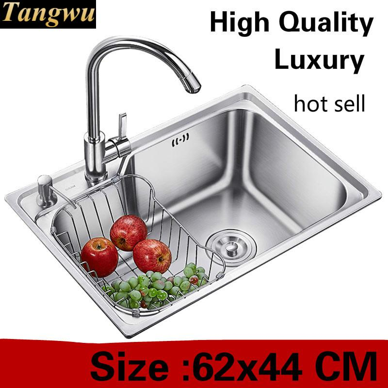 Free Shipping Apartment Luxury Kitchen Single Trough Sink Left Vogue Wash Vegetables 304 Stainless Steel Hot Sell 620x440 MM