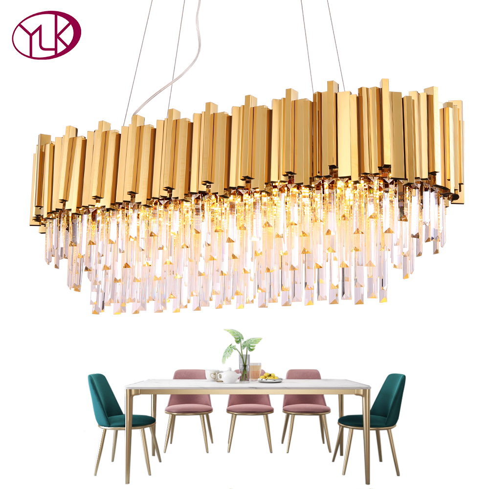 Rectangle modern chandelier lighting for dining room luxury led crystal lamp in the kitchen island gold