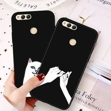 Luxury Black TPU Soft Case For Huawei Honor 7X Cute Cat Matte Cases Cover 8X Bumper Shell Honor7X Honor8X Pouch