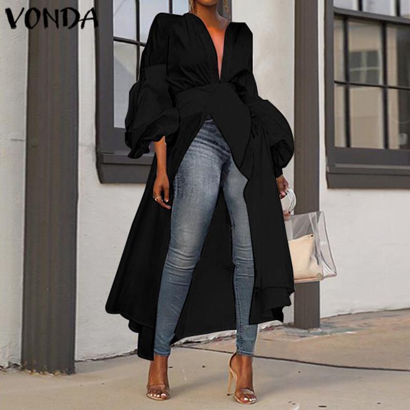 VONDA Women Blouse Casual Loose Split Hem Asymmetrical Blouse Autumn Tops Sexy Party Long Shirts Female OL Blusa Tunic Plus Size