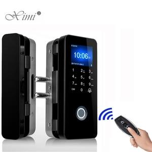 Image 1 - No Drill Security Biometric Fingerprint Door Lock For Frameless Glass Door Password Door Lock With Remote Control Function