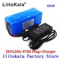 LiitoKala 36 V 12AH batería de bicicleta eléctrica integrada en 20A BMS batería de litio Paquete de 36 Voltios con 2 a carga Ebike batería XT60 Pllug