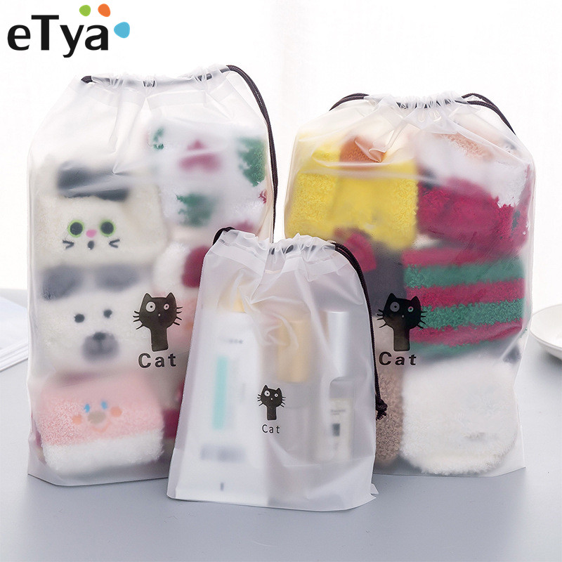 ETya Women Travel Cosmetic Bag PVC Clear Drawstring Neceser Makeup Bags Pouch Travel Toiletry Wash Cloth Shoes Organizer Set