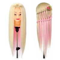 24inch Hairdressing Training Head Corn Iron Colorful Type Mannequin Synthetic Hair +table clamp Beige Pink Doll Wholesale Prices