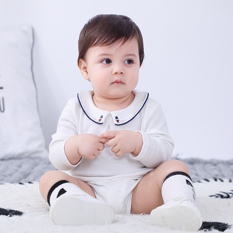 Cute Baby Bodysuits Long Sleeve Spring Autumn Boys Girls Jumpsuit Baby Triangle Romper Peter Pan Collar White Baby Clothes