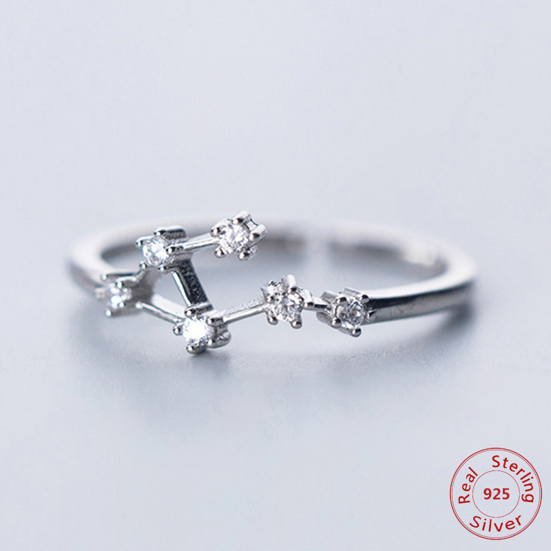 CZ Stone Silver 12 Constellations Size Adjustable Open 925 Sterling Silver Ring for Women Girls Jewelry Gift(China)