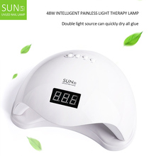 48W Dual UV LED Nail Dryer USB Portable Lamp Sunlight Fast Dry Smart Timing Art Equipment LCD Display Manicure Tools