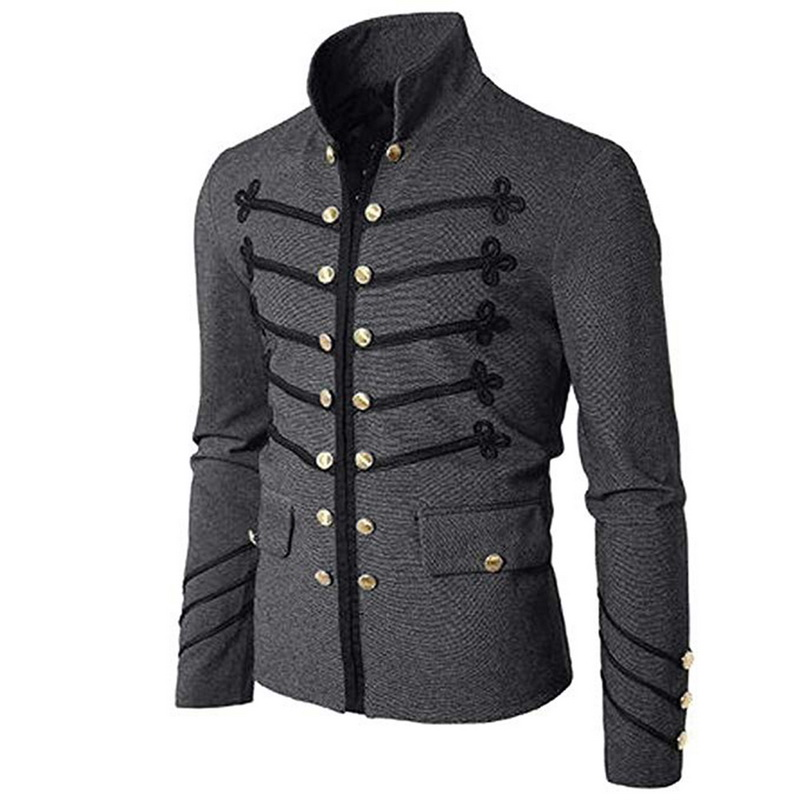 Jacket Casual Nobility Coats Cardigan Steampunk Embroidery Gothic Formal Casaco Masculino