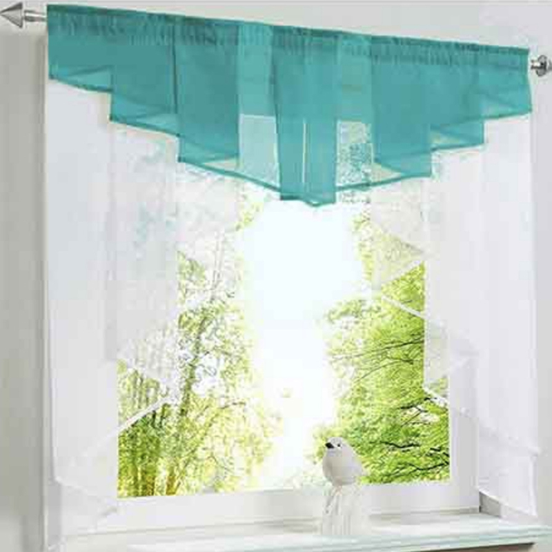Roman Short Curtain Valance Tie for Window Kitchen Door Pleated Stitching Multi Color Sheer Voile Tulle 1 Panel DL033C
