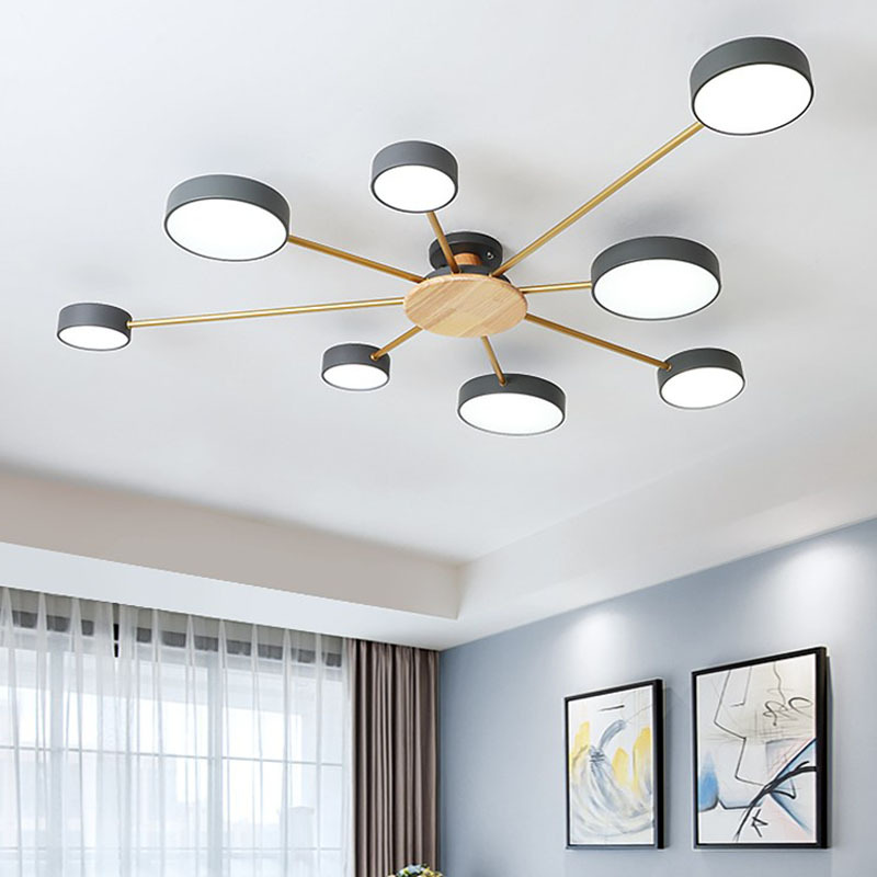 Nordic modern minimalist LED chandelier bedroom LED ceiling lamp living room personality room solid wood plus iron lighting
