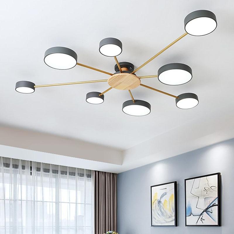 Nordic modern minimalist LED chandelier bedroom LED ceiling lamp living room personality room solid wood plus iron lighting