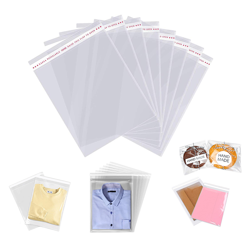 Clear Thick Self Adhesive Cellophane Bags Transparent Plastic Self Sealing OPP Poly Bag Pouch For Gift Packaging Storage Bags