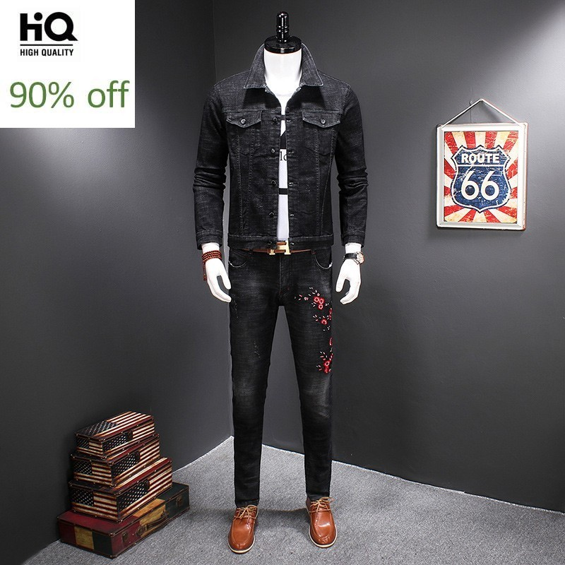 Fashion Mens Denim Jacket Jeans 2pcs Set Casual Slim Fit Floral Embroidery Outfits Suits Cowboy Coat Pencil Pants Ensemble Homme
