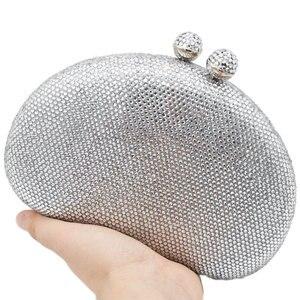 Image 3 - Boutique De FGG Elegante Argento Delle Donne Sacchetti di Sera e Pochette Dura di Caso Festa Nuziale Nuziale di Cristallo Borse e Borsette