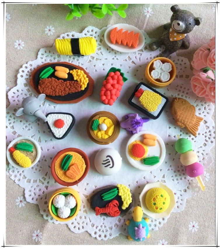50pcs Kawaii Food Eraser Cute Sushi Erasers Puzzle Toy Prizes For Kids Korean Stationery School Supplies Christmas Gift For Kids
