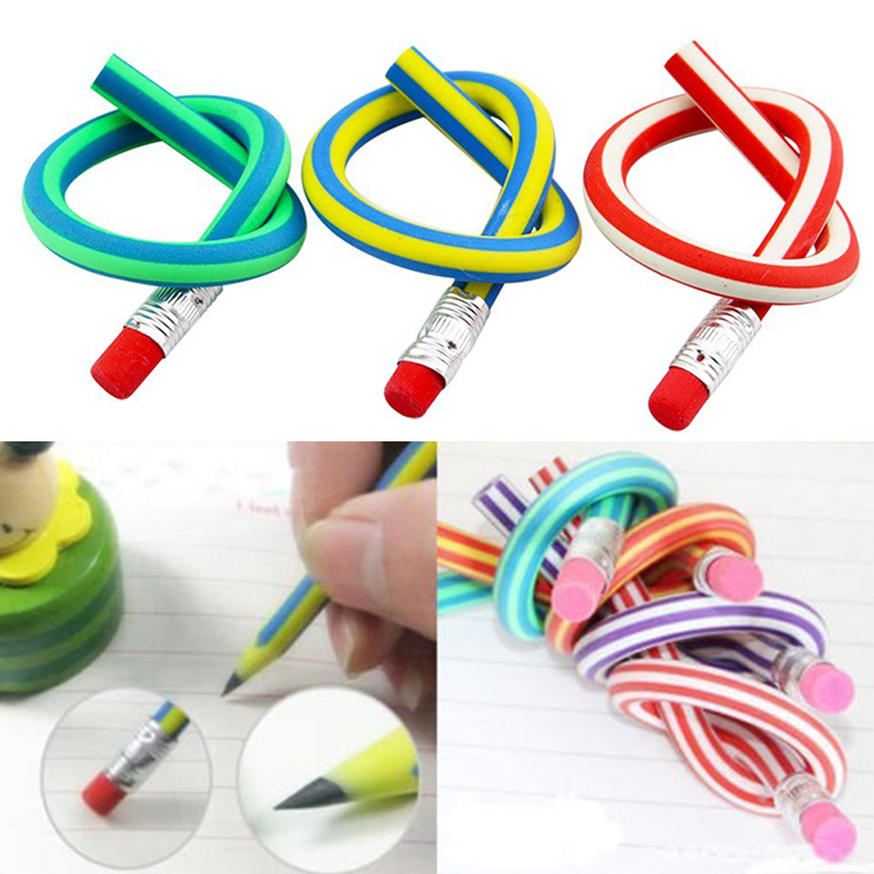 5pcs/10pcs/lot Colorful Magic Bendy Flexible Soft Pencil With Eraser Pencils Curved Toy Pen Small Gift High Striped Soft Pencil