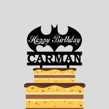 1 шт заказное имя мультфильм Бэтмен С Днем Рождения акриловый торт Топпер для детей день рождения украшения торта YC046