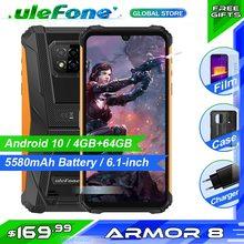 Osłona Ulefone 8 telefon komórkowy Helio P60 RAM 4GB ROM 64GB 5580mAh 6 1 cala Android 10 NFC Dual SIM wodoodporny smartfon tanie tanio Nie odpinany Inne Rozpoznawania linii papilarnych Rozpoznawania twarzy 16MP 5500 Nonsupport english Rosyjski Niemiecki French