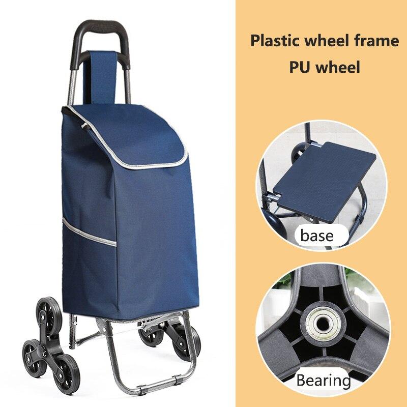 Поднимайтесь вверх, тележка для покупок, большие товары, товары, чехол на колесиках, складная тележка для прицепа, бытовая Портативная сумка для покупок, женская сумка - Цвет: PU wheel 1