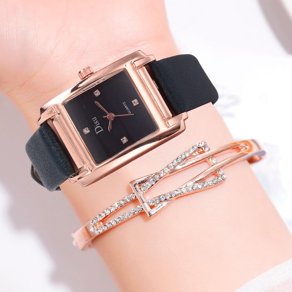 Top Brand Ladies Watch Elegant Black Square Simple Minimalism Quartz Casual Watch Woman Rhinestone Sports Wristwatch Gift