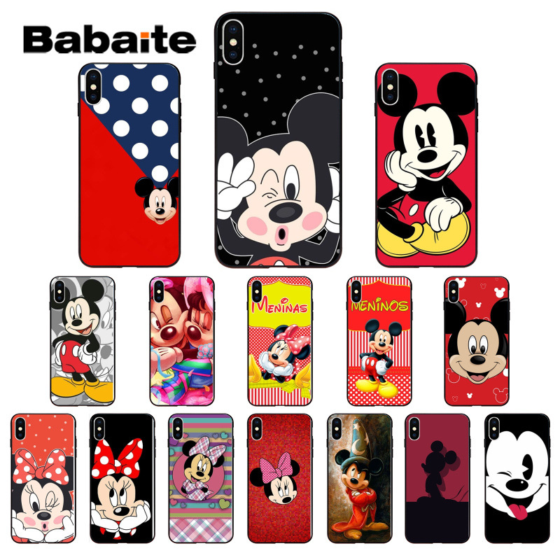 Cute <font><b>Mickey</b></font> Minnie Soft Silicone TPU Phone Cover for <font><b>iPhone</b></font> 7 8 <font><b>6</b></font> 6S Plus 5 5S SE XR X XS MAX <font><b>Coque</b></font> Shell image