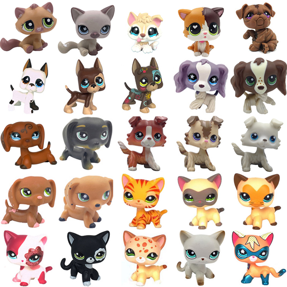 Rare Pet Shop Toys Stands Short Hair Kitten Dog Dachshund Collie Spaniel Great Dane Old Original  Collection Figure