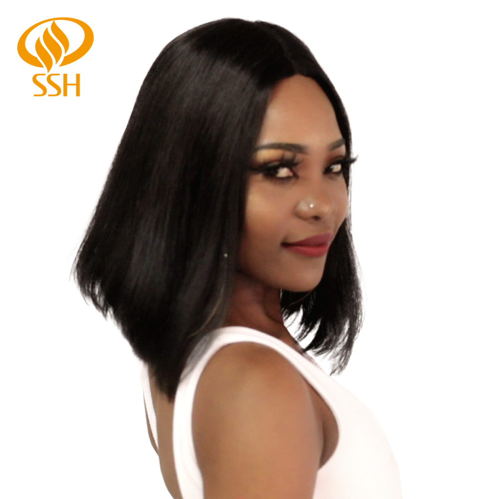 SSH Fashion Brazilian Wig Short Bob Straight Lace Human Hair Wigs T Part Non-Remy Hair Wig For Black Women
