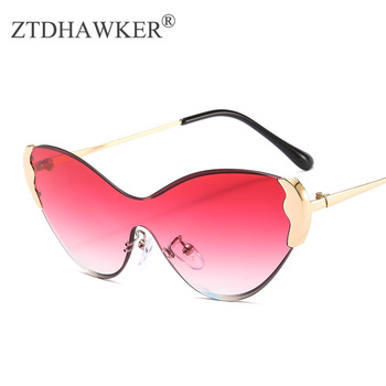 Cat Glasses Frameless Womens Sunglasses Brand Designer Fashion Trimmed Ladies
