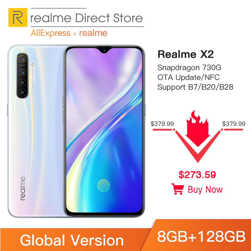 "Global Version Realme X2 8GB RAM 128GB ROM NFC 6.4"" Moblie Phone Snapdragon 730G 64MP Quad Camera Cellphone VOOC 30W Fast Charge"