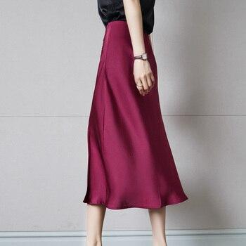 Korean Silk Skirts Womens Heavy Silk Midi Skirt Woman Satin Skirts Women High Waist Split Skirt Plus Size Faldas Mujer Moda 2020 women vintage leopard naomi wild things mermaid high waist silk satin midi skirt