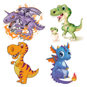 Sticker-Set T-Shirt Patches Diy-Decoration Dinosaur for New Washable A-Level-H