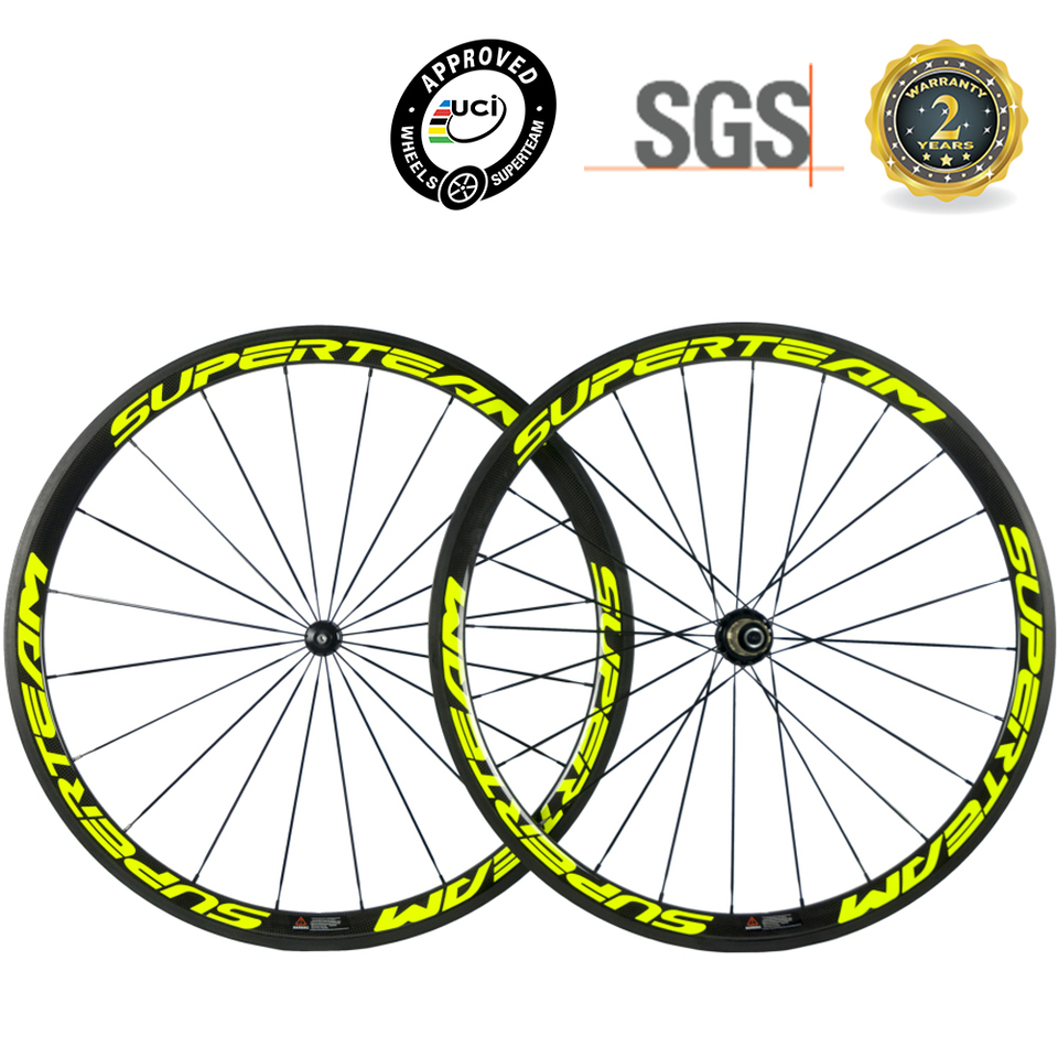 Superteam 38mm Carbon Wheelset Road Bike Clincher//Tubeless//Tubular Carbon Wheels