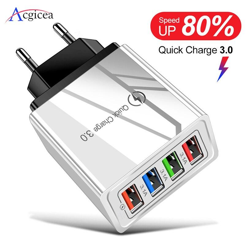 Зарядное устройство USB с разъемом EU/US Quick Charge 3,0 для телефона, адаптер для планшета huawei mate 30, портативное настенное мобильное зарядное устройс...