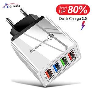 Зарядное устройство USB 3,0 с вилкой Стандарта ЕС/США для быстрой зарядки телефона, адаптер для планшета Huawei Mate 30, портативное настенное зарядн...