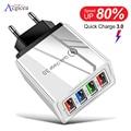 Адаптер питания Acgicea с 4 USB-портами и поддержкой быстрой зарядки 3.0, 45 Вт