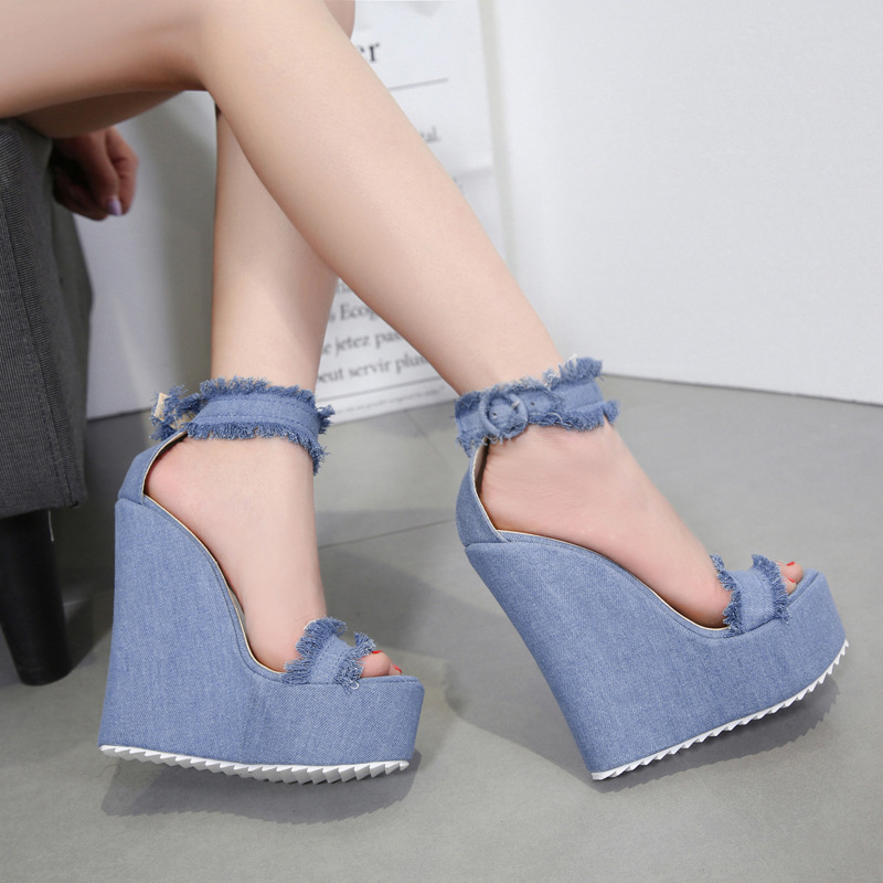Women Sandals Buckle-Strap High-Shoes Wedges Ladies Peep-Toe Casual Fashion Summer Super