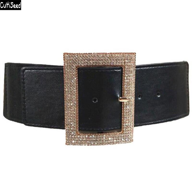 Cultiseed Women Bright Drill Decorative Wide Waist Belt Female Fashion Elastic Belt Ladies Aistband Waist Belt Cummerbunds