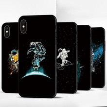 Black TPU Case For Apple iPhone X XR XSMax 11 Cover Fashion Cartoon Astronaut 6 6S 7 8 Plus Phone Shell Bumper