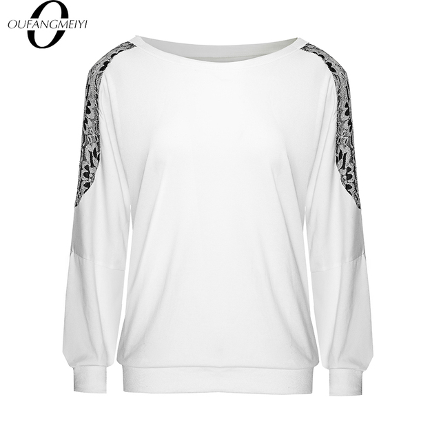 Stylish Floral Embroidery Loose Casual Autumn O-Neck Long Sleeve Brief  Women Tops E253 1
