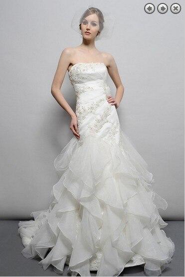Free Shipping 2016 Designer New Bridal Gown Organza Ruffles Brides Long Dressplus Size Sweetheart Elegant Lace Wedding Dresses