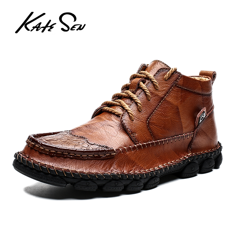 KATESEN Men Shoes Leather Fashion High Tops Male Shoes Luxury Brand Mens Casual Handmade Shoes Retro Lace Up Flats Solid Shoes