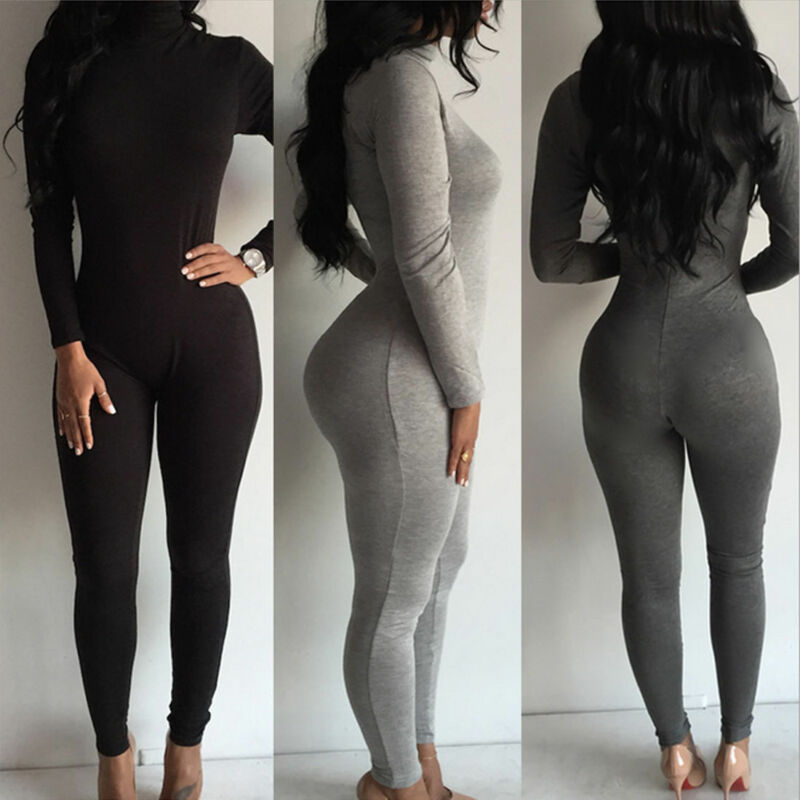 2019 Brand New Women Clothes Zipper Clubwear Bodysuits Playsuit Long Sleeve Bodycon Party Jumpsuit Trousers Bodysuit