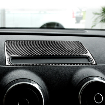For Audi A3 8V Carbon Fibre Navigation GPS Dashboard Console Cover Trim Panel Interior Car Styling Decoration image