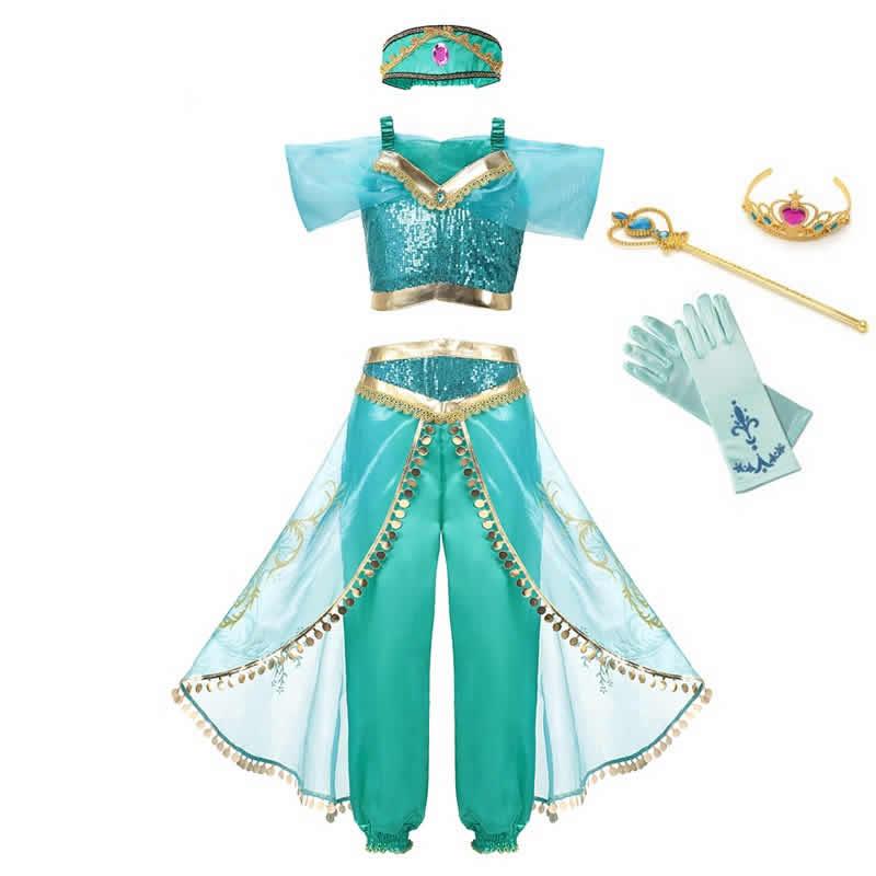 MUABABY Summer Girl Dress Arabian Jasmine Princess Dress up Costume Children Sleeveless Sequin Cosplay Clothes Kid Party Fantasy