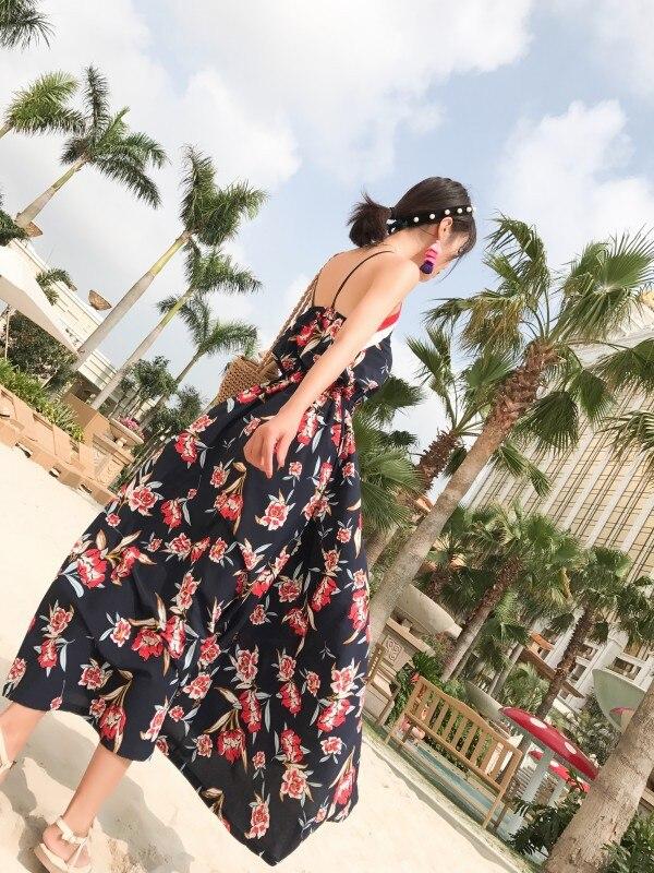 Photo Shoot Maldives Camisole High-waisted Flower Navy Bohemian Dress Holiday Long Skirts